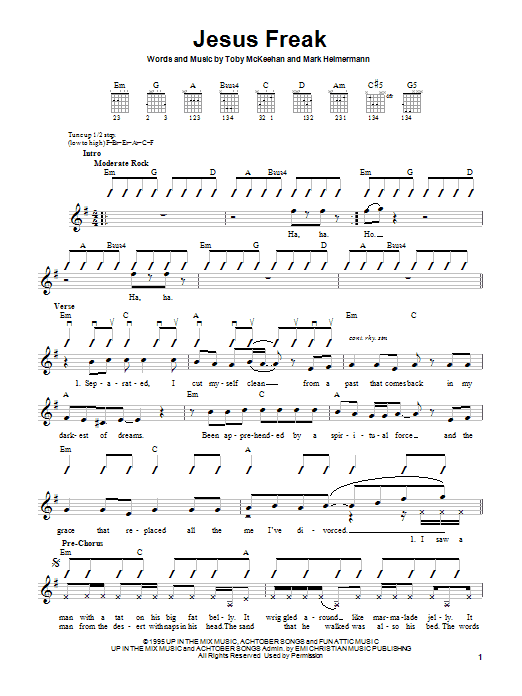 dc Talk Jesus Freak sheet music notes and chords. Download Printable PDF.