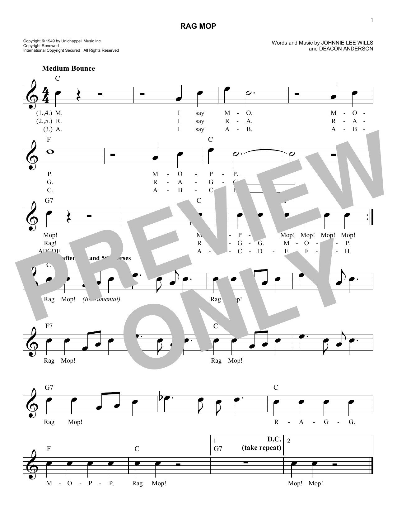 Deacon Anderson Rag Mop sheet music notes and chords. Download Printable PDF.