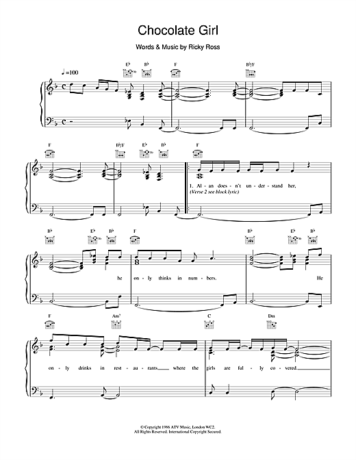 Deacon Blue Chocolate Girl sheet music notes and chords. Download Printable PDF.