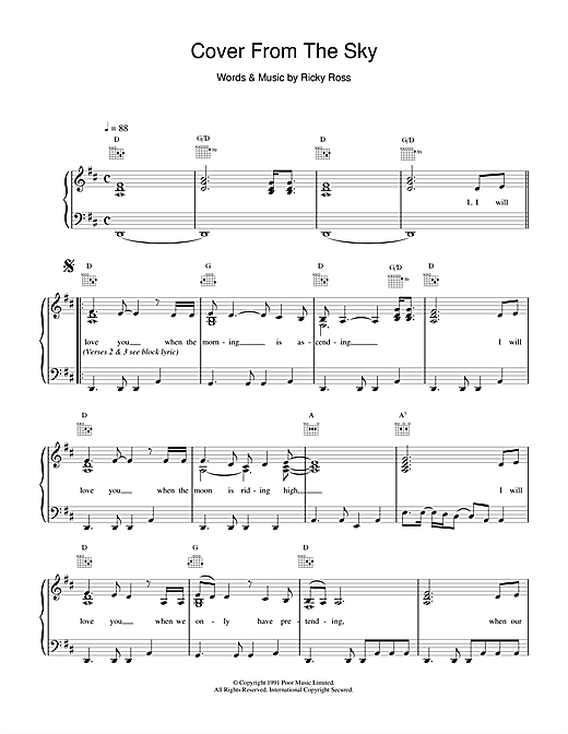 Deacon Blue Cover From The Sky sheet music notes and chords
