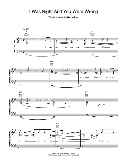Deacon Blue I Was Right And You Were Wrong sheet music notes and chords. Download Printable PDF.