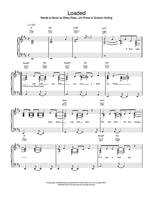 Deacon Blue Loaded sheet music notes and chords