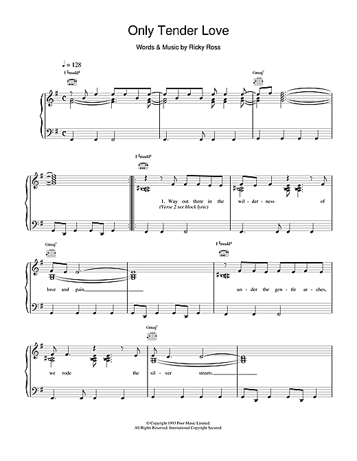 Deacon Blue Only Tender Love sheet music notes and chords. Download Printable PDF.