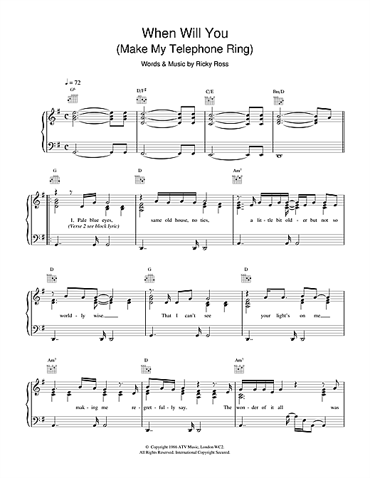 Deacon Blue When Will You (Make My Telephone Ring) sheet music notes and chords. Download Printable PDF.