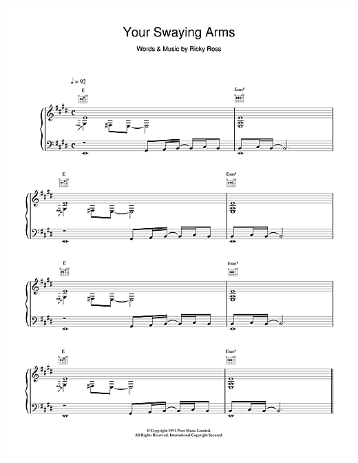 Deacon Blue Your Swaying Arms sheet music notes and chords. Download Printable PDF.