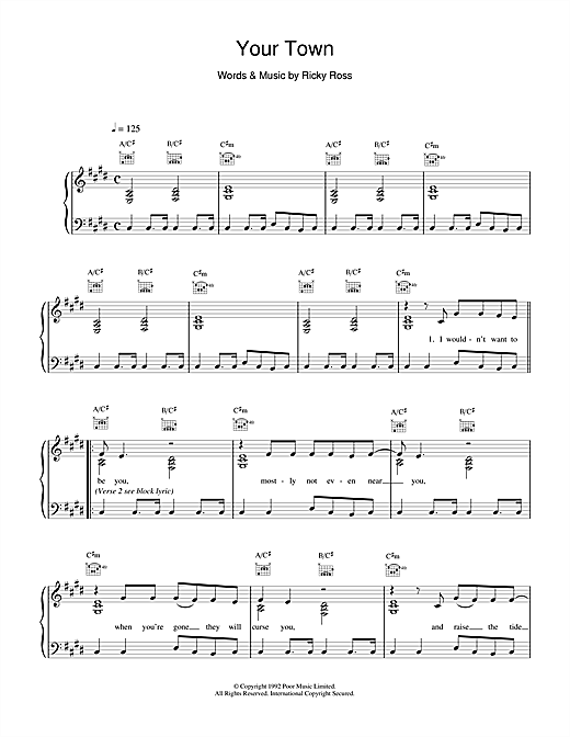 Deacon Blue Your Town sheet music notes and chords. Download Printable PDF.