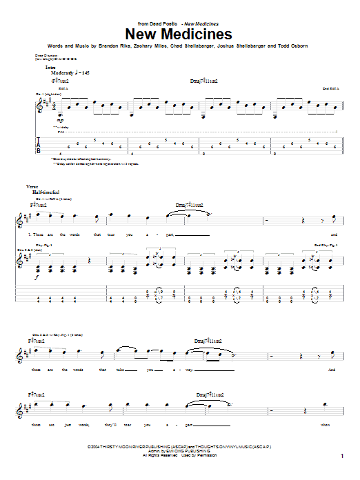 Dead Poetic New Medicines sheet music notes and chords. Download Printable PDF.