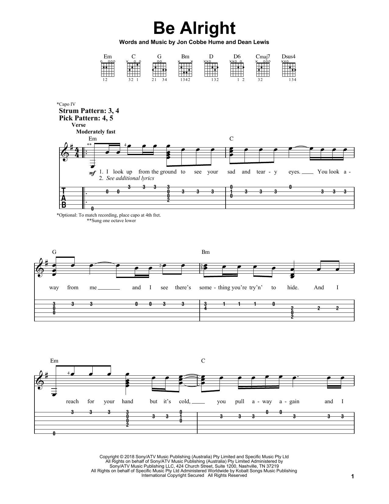 Dean Lewis Be Alright sheet music notes and chords