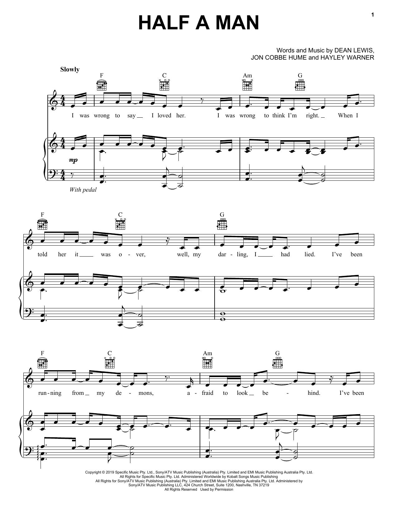 Dean Lewis Half A Man sheet music notes and chords