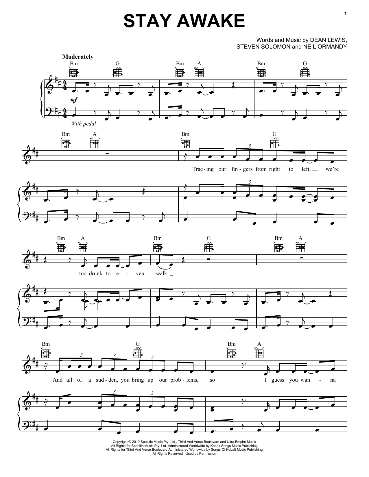Dean Lewis Stay Awake sheet music notes and chords