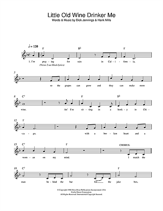 Dean Martin Little Old Wine Drinker Me sheet music notes and chords. Download Printable PDF.