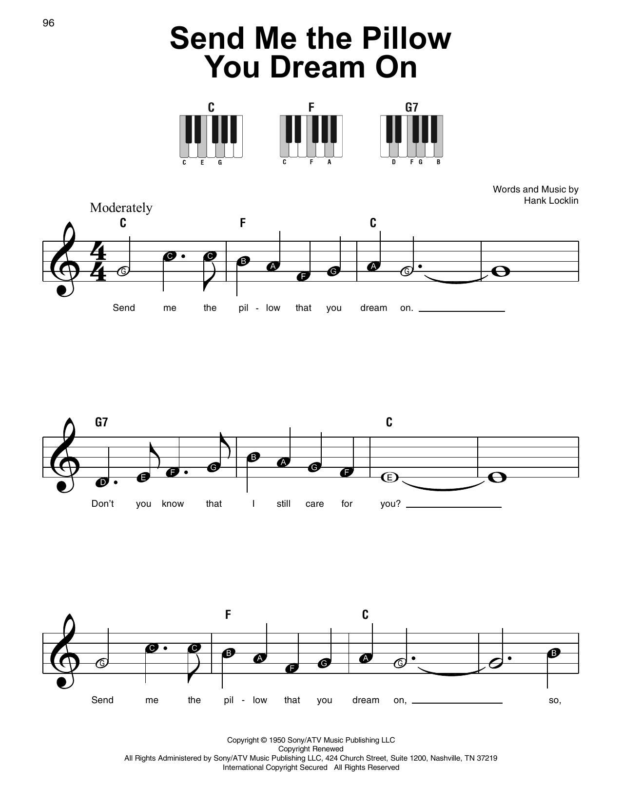 Dean Martin Send Me The Pillow You Dream On sheet music notes and chords. Download Printable PDF.