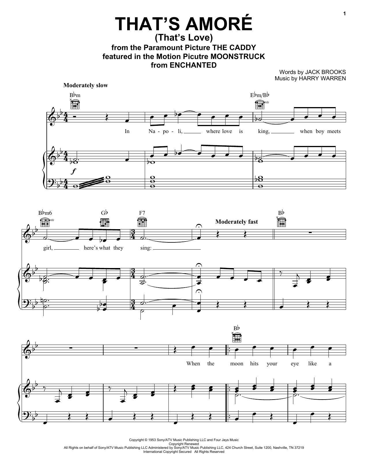 Dean Martin That's Amore (That's Love) sheet music notes and chords. Download Printable PDF.