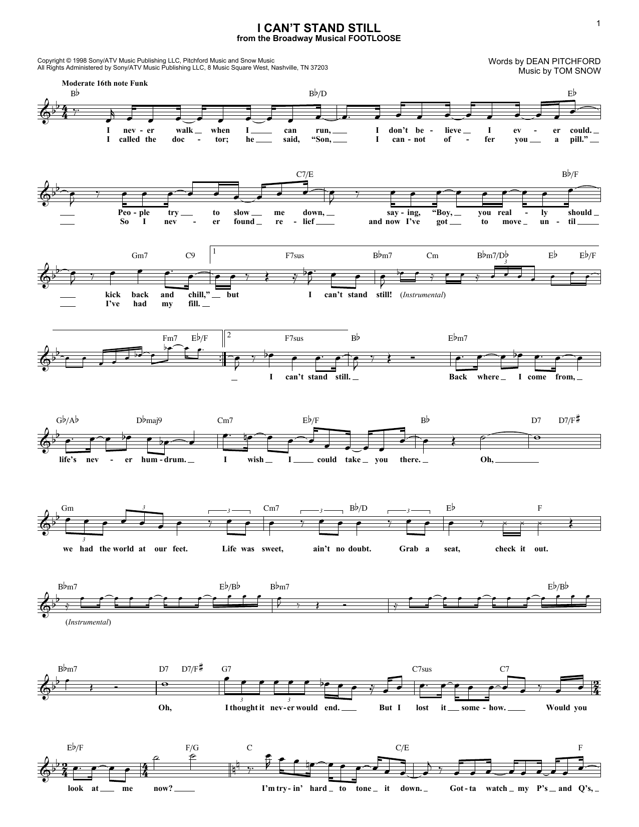 Dean Pitchford I Can't Stand Still sheet music notes and chords