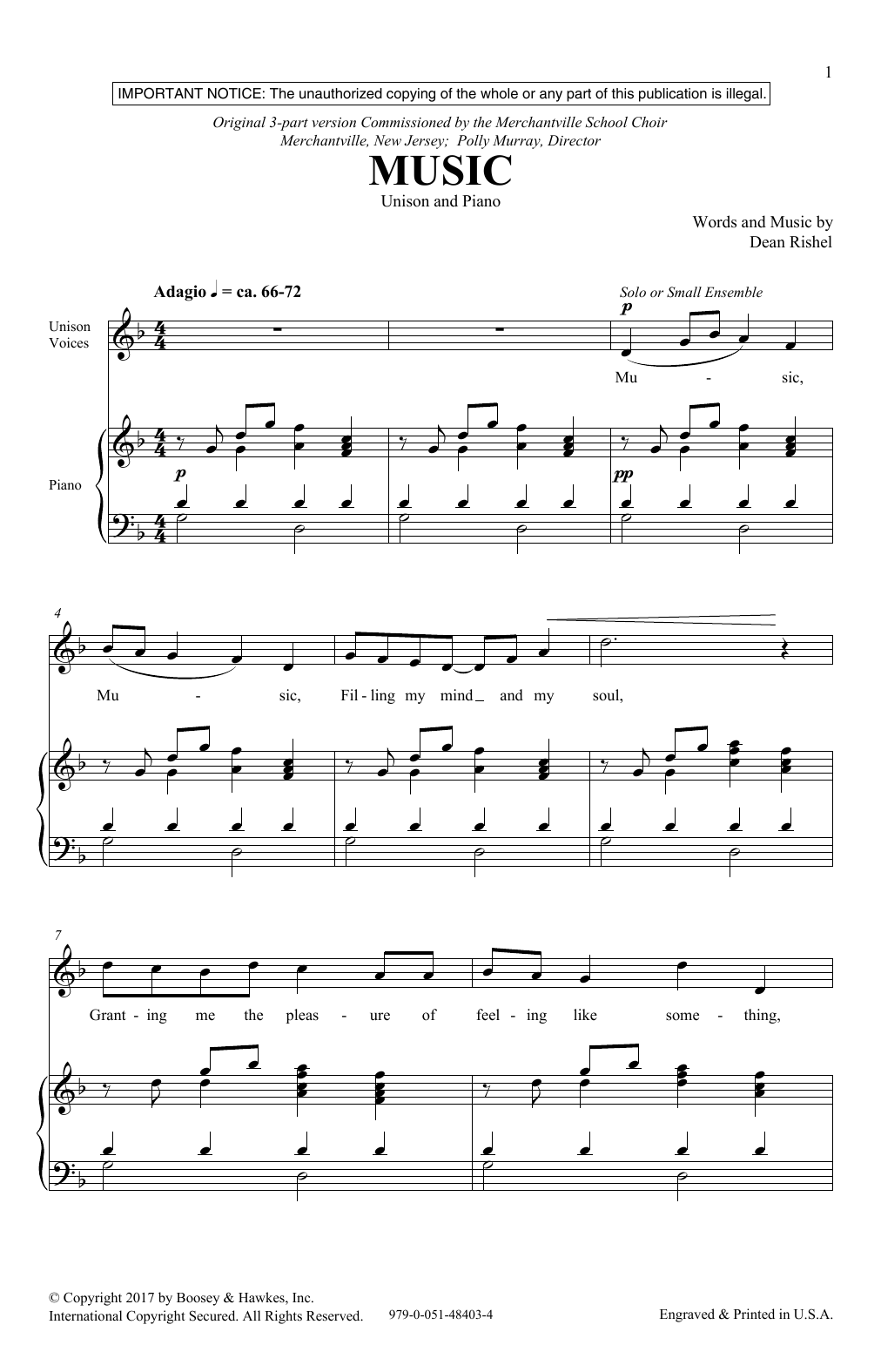 Dean Rishel Music sheet music notes and chords. Download Printable PDF.