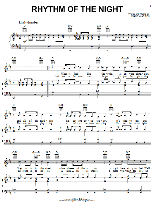 DeBarge Rhythm Of The Night sheet music notes and chords