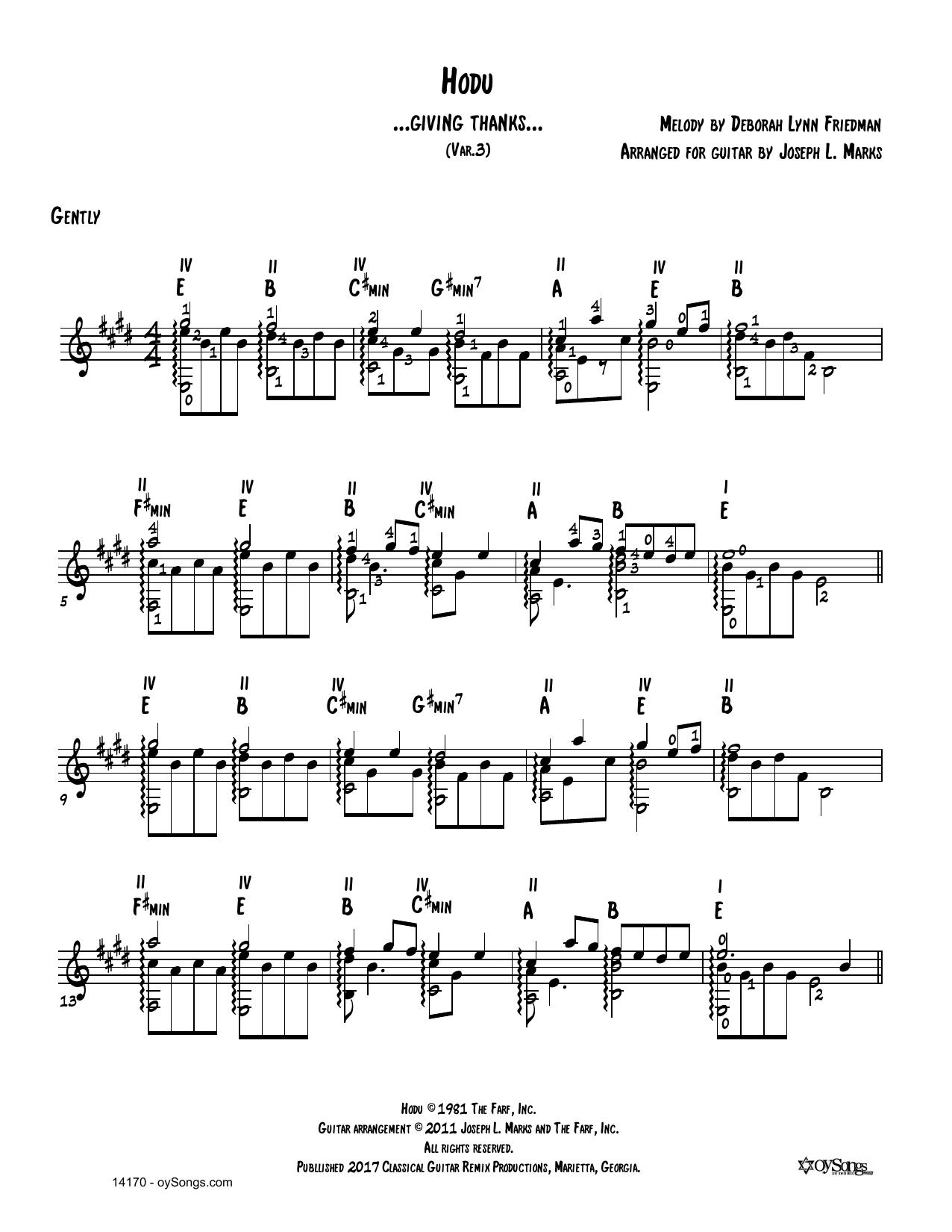 Debbie Friedman Hodu Var 3 (arr. Joe Marks) sheet music notes and chords. Download Printable PDF.