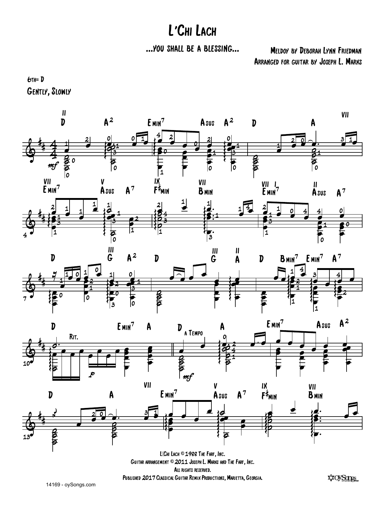 Debbie Friedman L'chi Lach (arr. Joe Marks) sheet music notes and chords. Download Printable PDF.