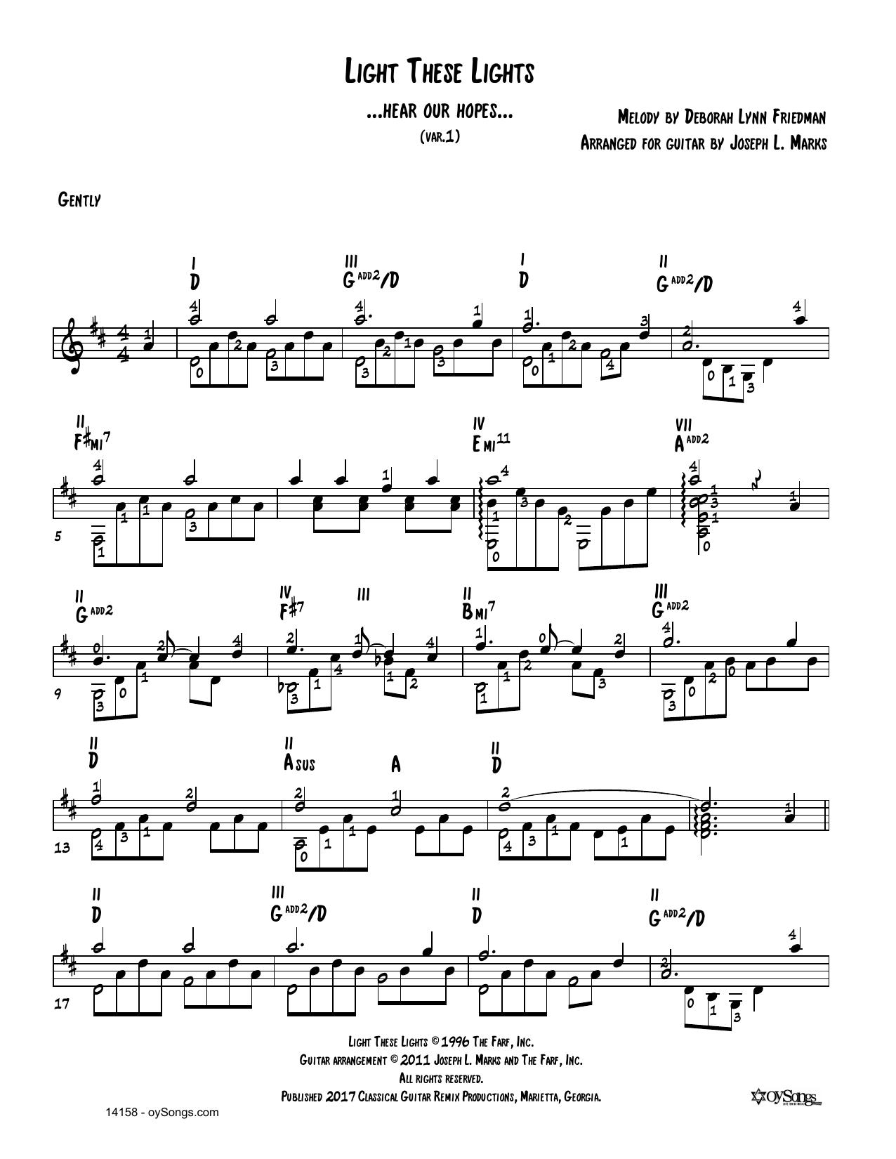Debbie Friedman Light These Lights Var 1 (arr. Joe Marks) sheet music notes and chords. Download Printable PDF.