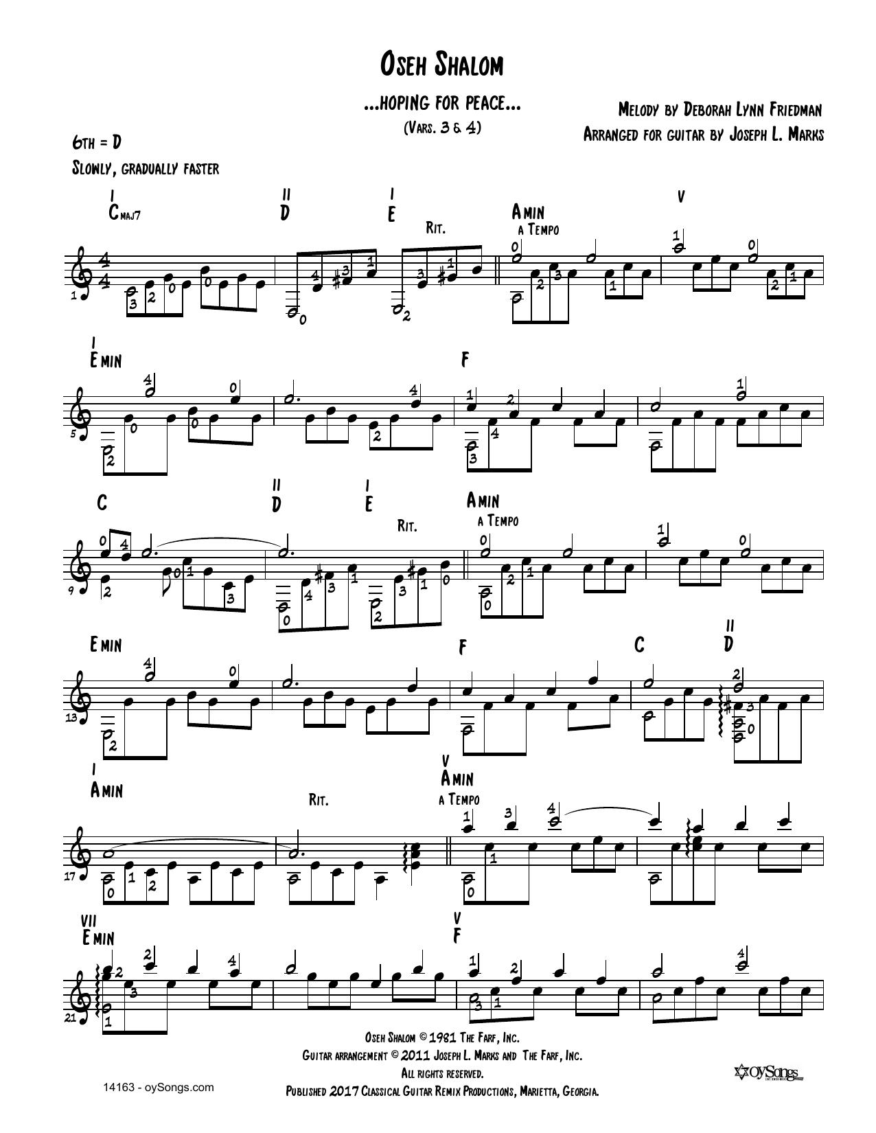 Debbie Friedman Oseh Shalom Vars 3, 4 (arr. Joe Marks) sheet music notes and chords. Download Printable PDF.