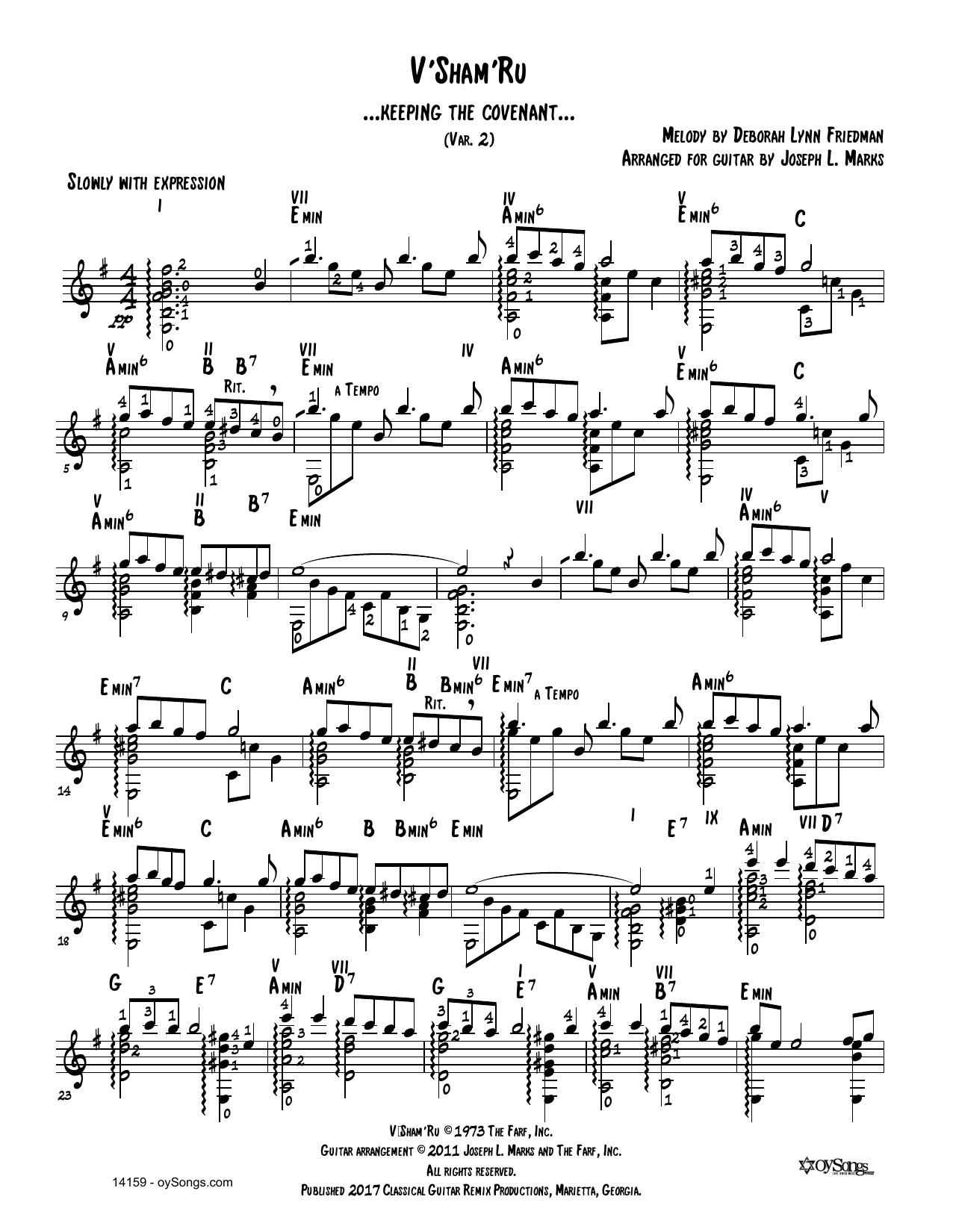 Debbie Friedman V'shamru Var 2 (arr. Joe Marks) sheet music notes and chords. Download Printable PDF.
