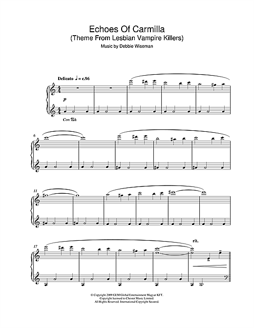 Debbie Wiseman Echoes Of Carmilla (Theme From Lesbian Vampire Killers) sheet music notes and chords. Download Printable PDF.