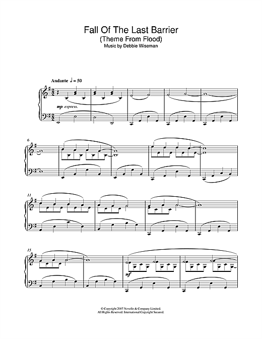 Debbie Wiseman Fall Of The Last Barrier (Theme From Flood) sheet music notes and chords. Download Printable PDF.