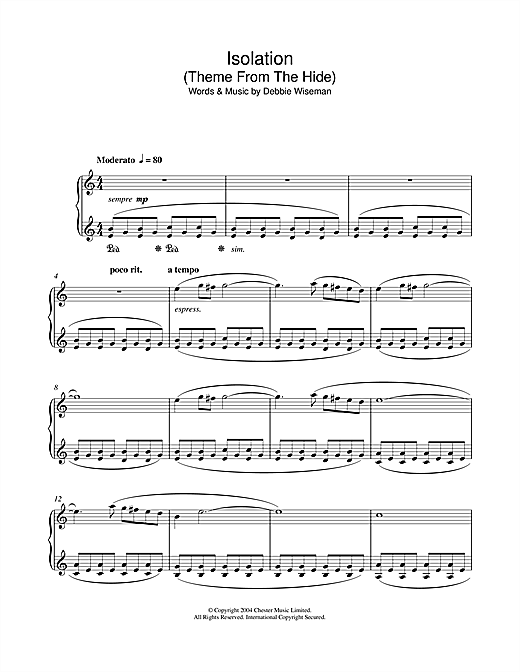 Debbie Wiseman Isolation (Theme From The Hide) sheet music notes and chords