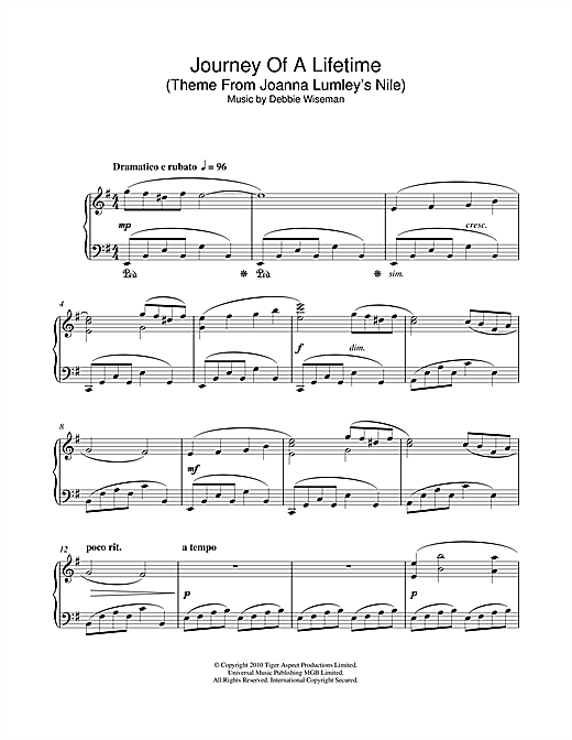 Debbie Wiseman Journey Of A Lifetime (Theme From Joanna Lumley's Nile) sheet music notes and chords