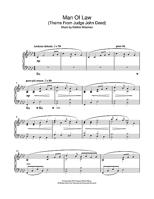 Debbie Wiseman Man Of Law (Theme From Judge John Deed) sheet music notes and chords. Download Printable PDF.