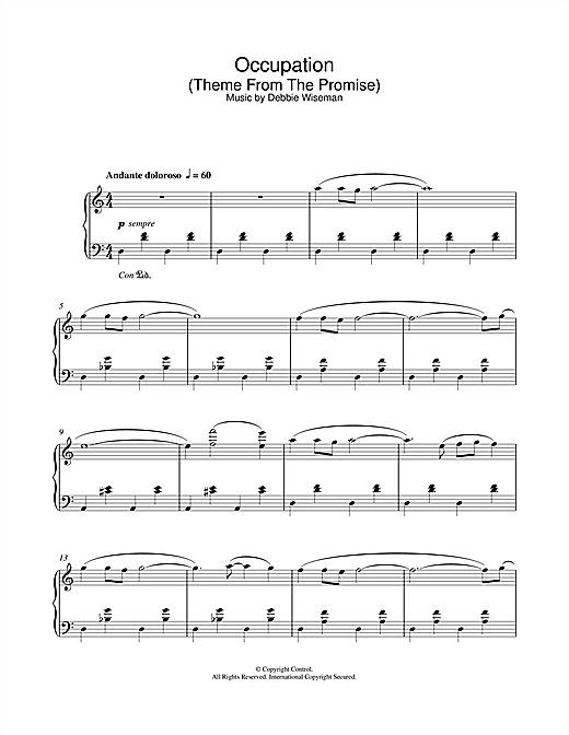 Debbie Wiseman Occupation (Theme From The Promise) sheet music notes and chords. Download Printable PDF.