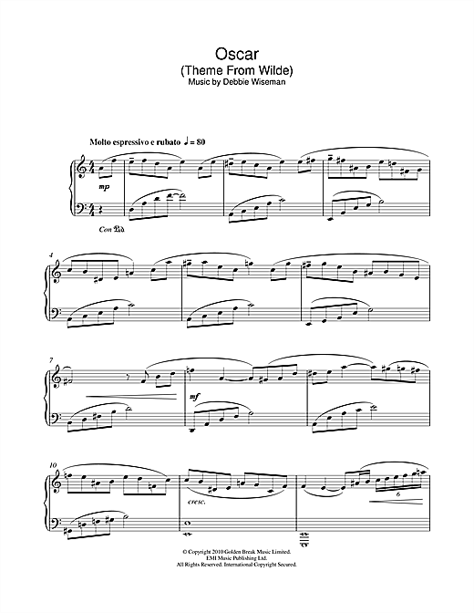 Debbie Wiseman Oscar (Theme From Wilde) sheet music notes and chords. Download Printable PDF.
