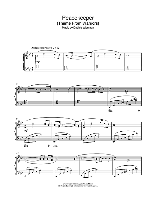 Debbie Wiseman Peacekeeper (Theme From Warriors) sheet music notes and chords