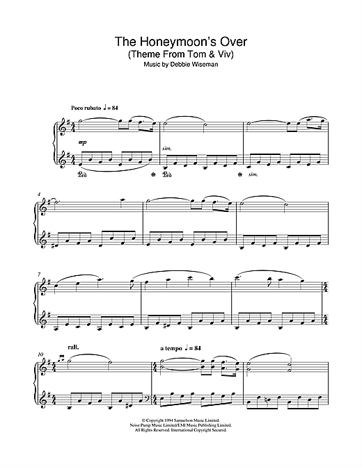 Debbie Wiseman The Honeymoon's Over (Theme From Tom & Viv) sheet music notes and chords
