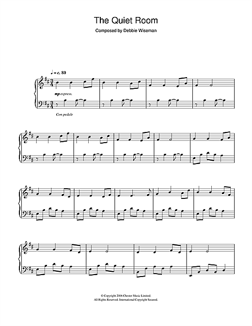 Debbie Wiseman The Quiet Room sheet music notes and chords