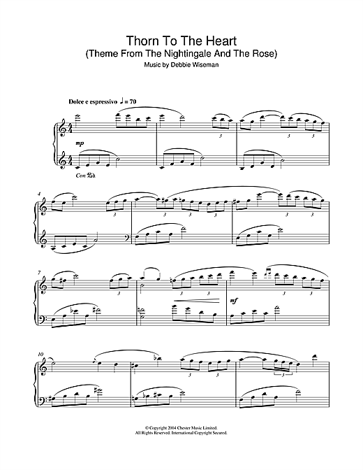 Debbie Wiseman Thorn To The Heart (Theme From The Nightingale And The Rose) sheet music notes and chords
