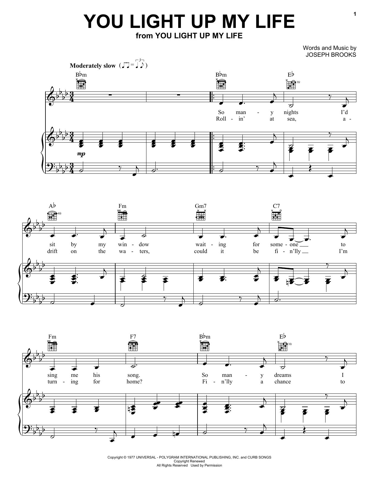 Debby Boone You Light Up My Life sheet music notes and chords. Download Printable PDF.