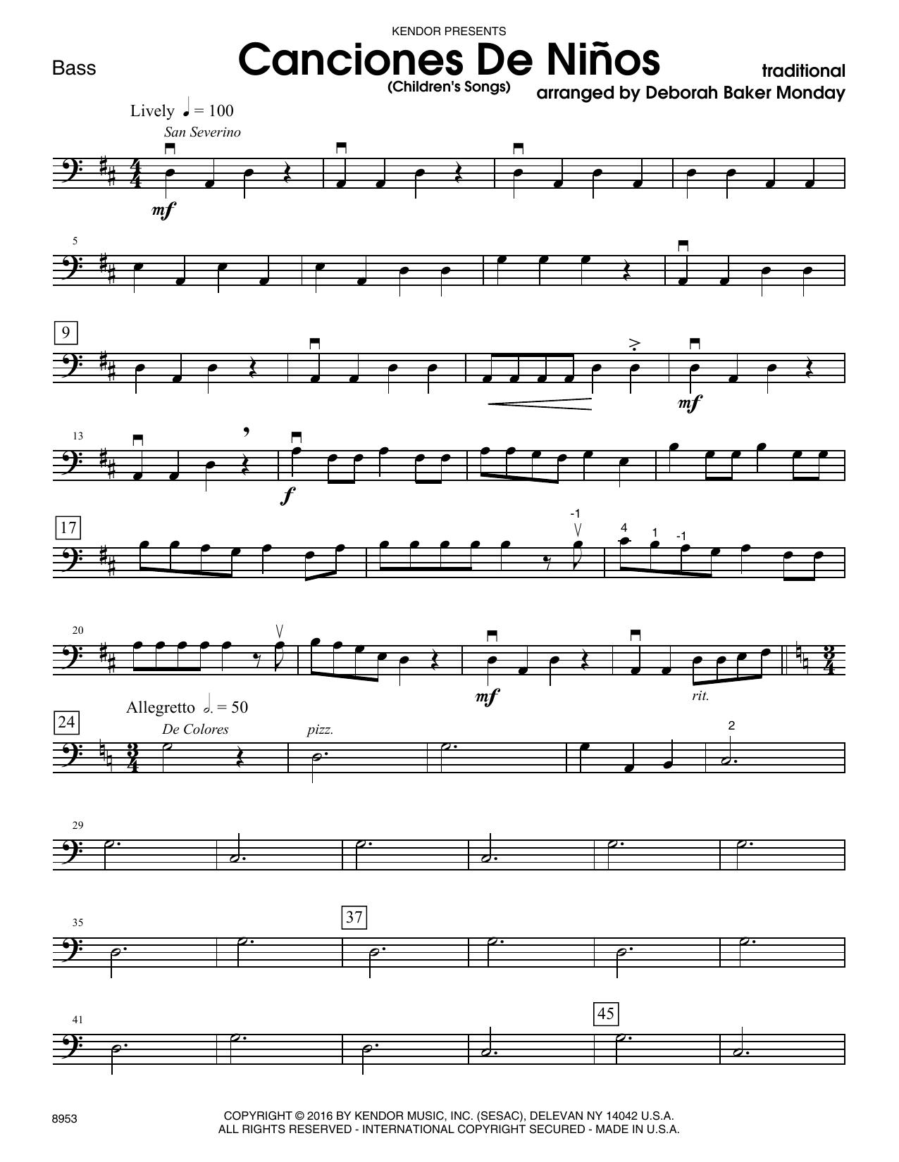 Deborah Baker Monday Canciones De Ninos - Bass sheet music notes and chords. Download Printable PDF.