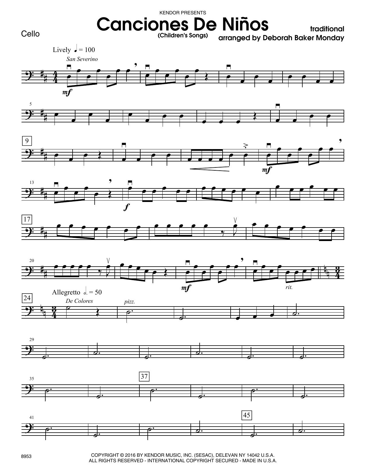 Deborah Baker Monday Canciones De Ninos - Cello sheet music notes and chords. Download Printable PDF.