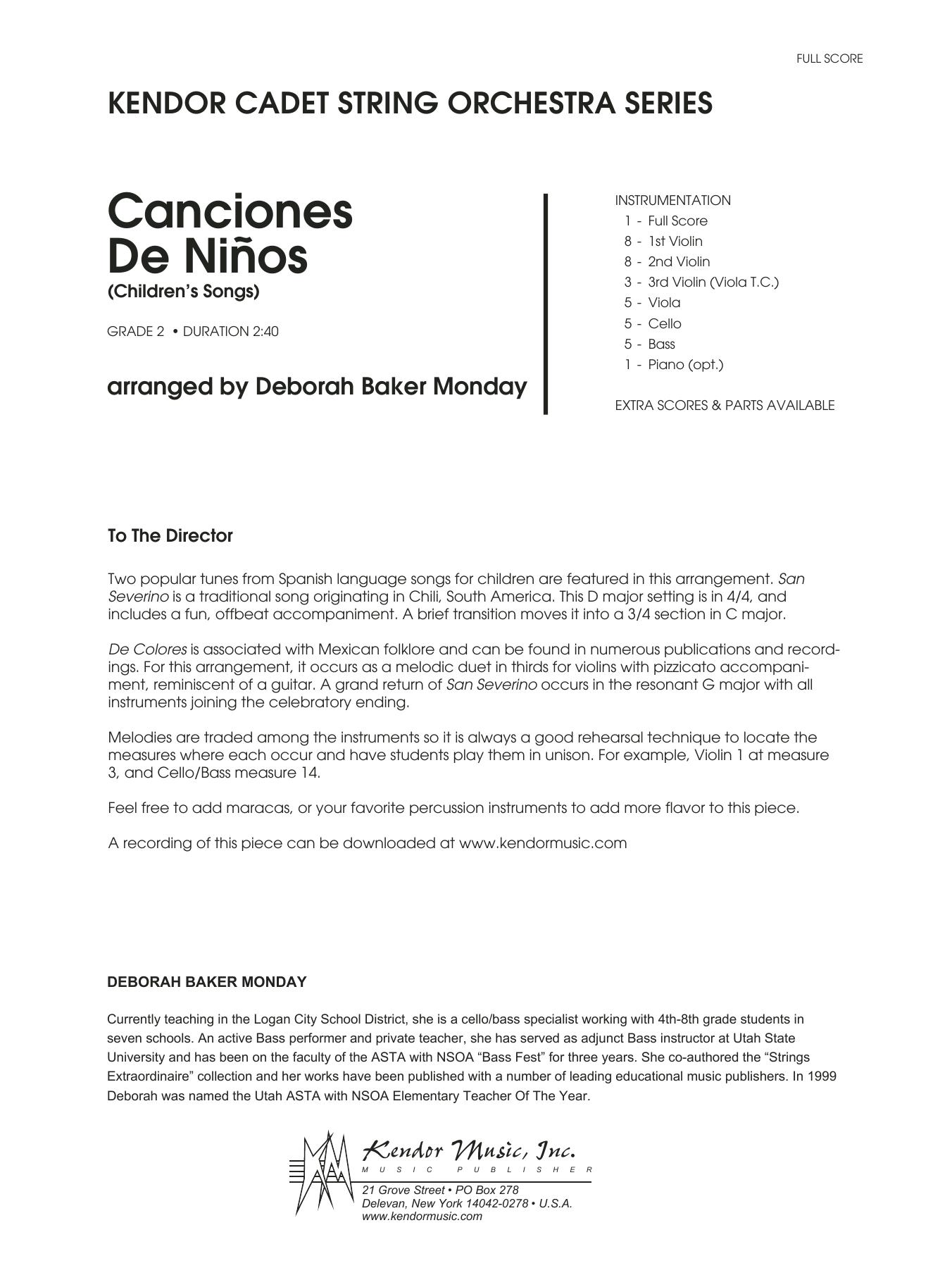 Deborah Baker Monday Canciones De Ninos - Full Score sheet music notes and chords. Download Printable PDF.