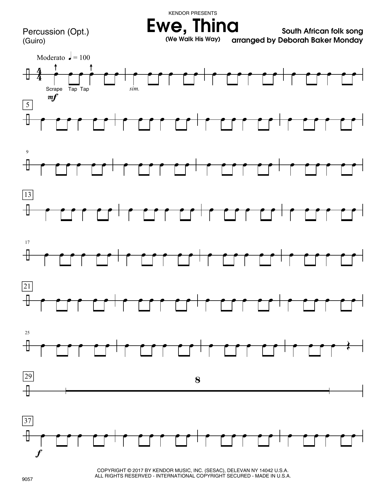 Deborah Baker Monday Ewe, Thina (We Walk His Way) - Percussion sheet music notes and chords. Download Printable PDF.