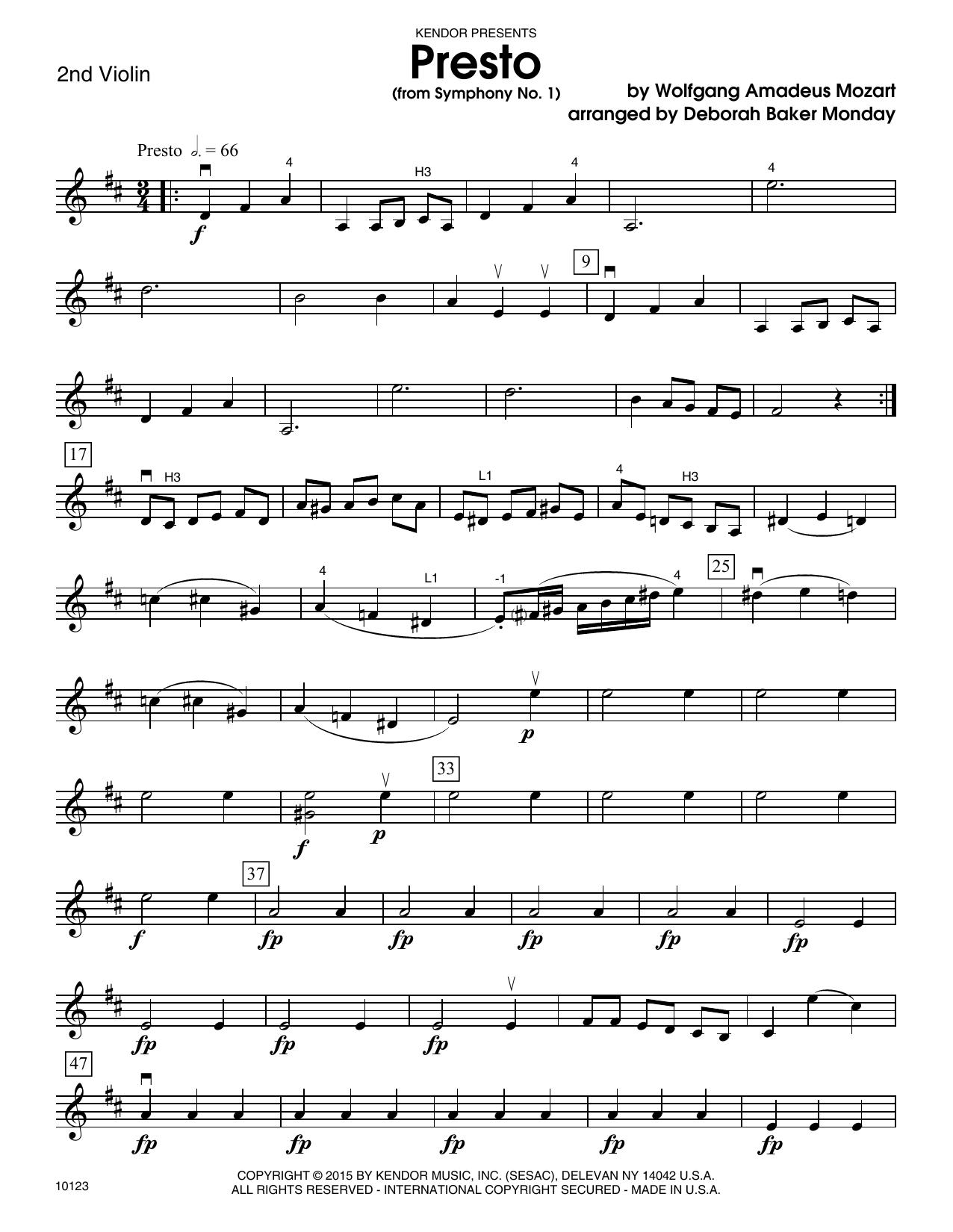 Deborah Baker Monday Presto (from Symphony No. 1) - 2nd Violin sheet music notes and chords. Download Printable PDF.