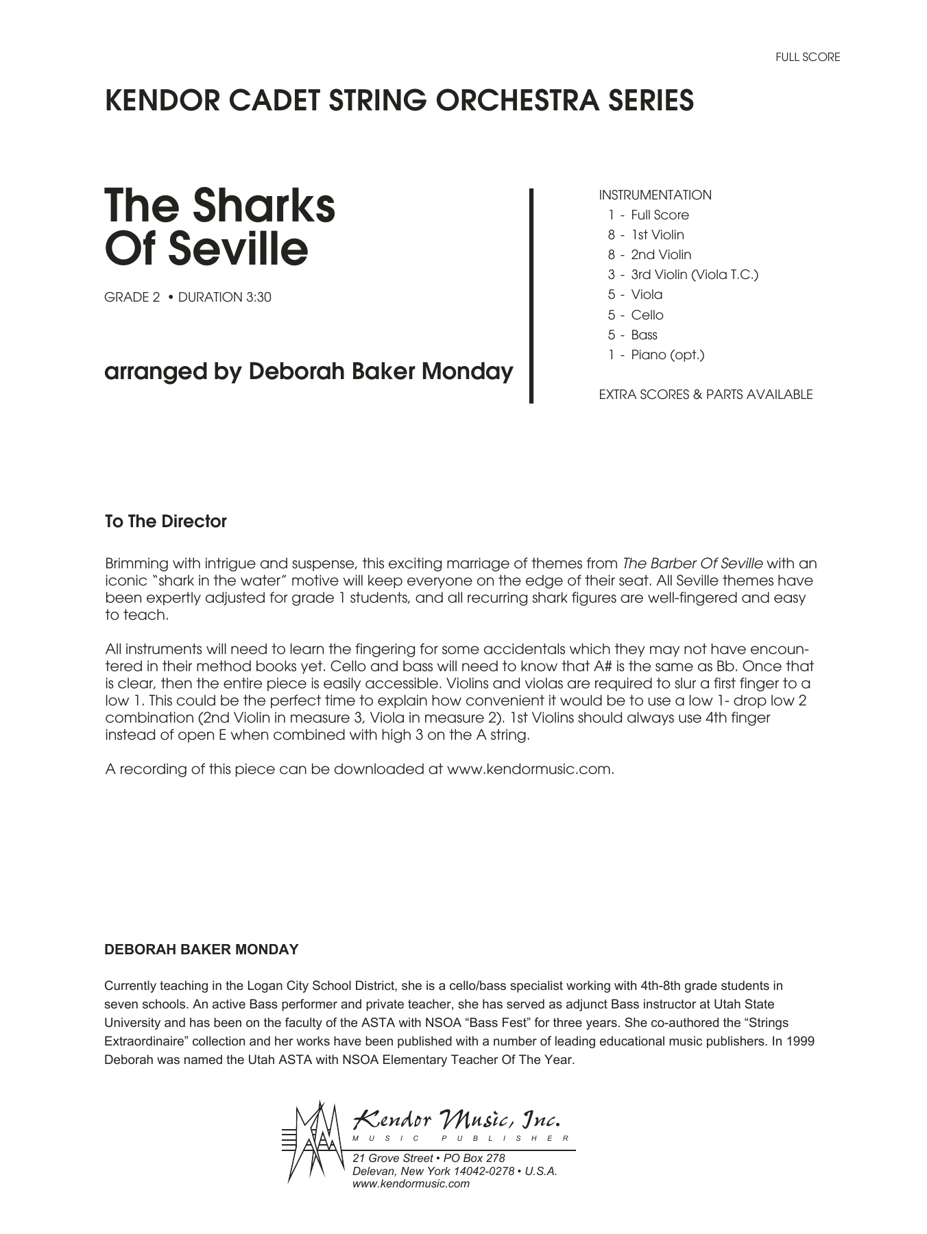 Deborah Baker Monday The Sharks Of Seville - Full Score sheet music notes and chords. Download Printable PDF.