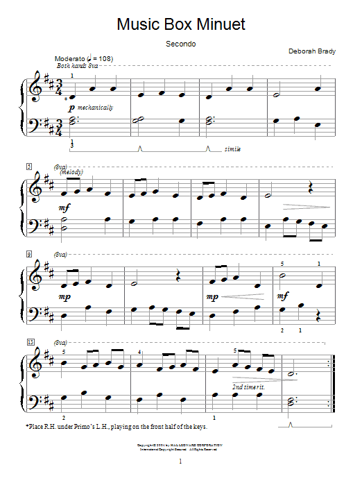 Deborah Brady Music Box Minuet sheet music notes and chords. Download Printable PDF.