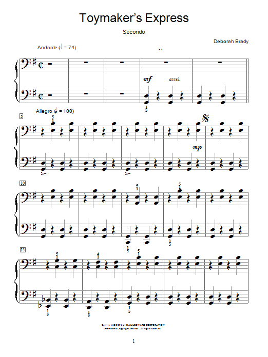 Deborah Brady Toymaker's Express sheet music notes and chords. Download Printable PDF.