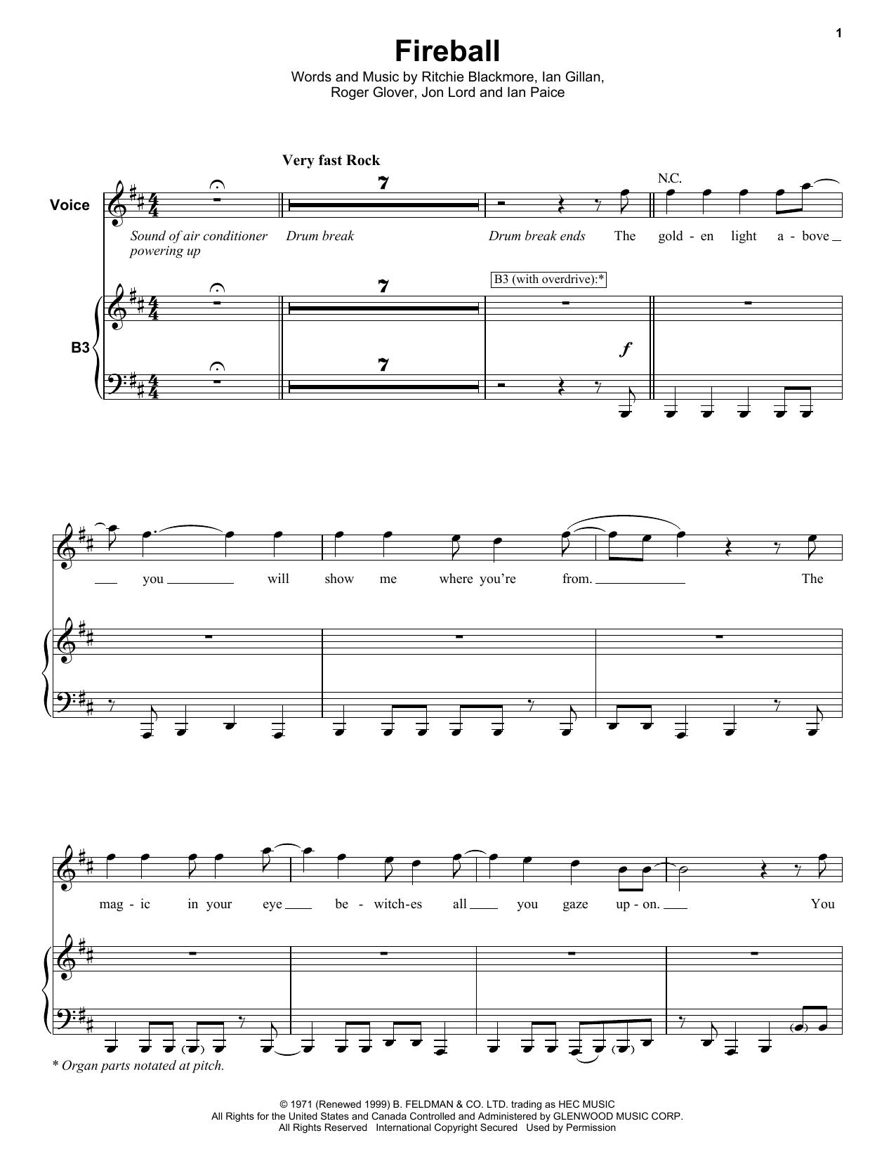 Deep Purple Fireball sheet music notes and chords
