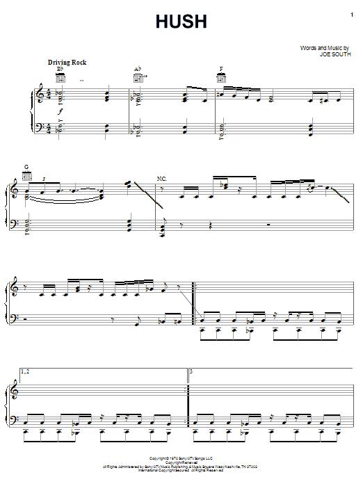 Deep Purple Hush sheet music notes and chords. Download Printable PDF.