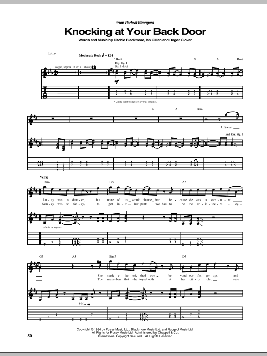 Deep Purple Knocking At Your Back Door sheet music notes and chords. Download Printable PDF.