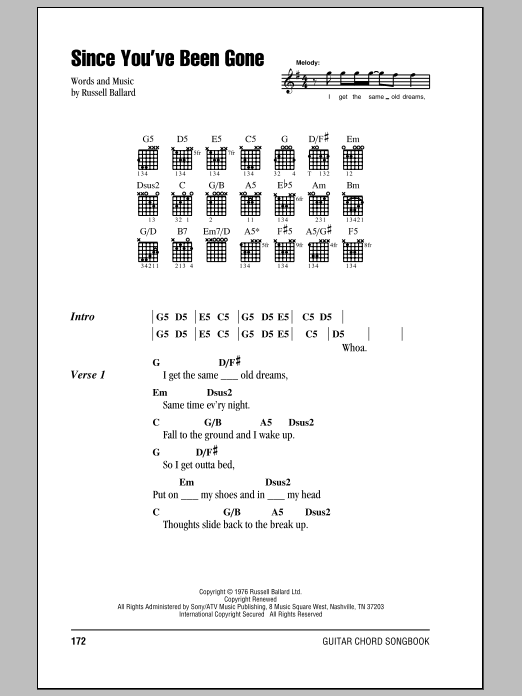 Deep Purple Since You've Been Gone sheet music notes and chords. Download Printable PDF.