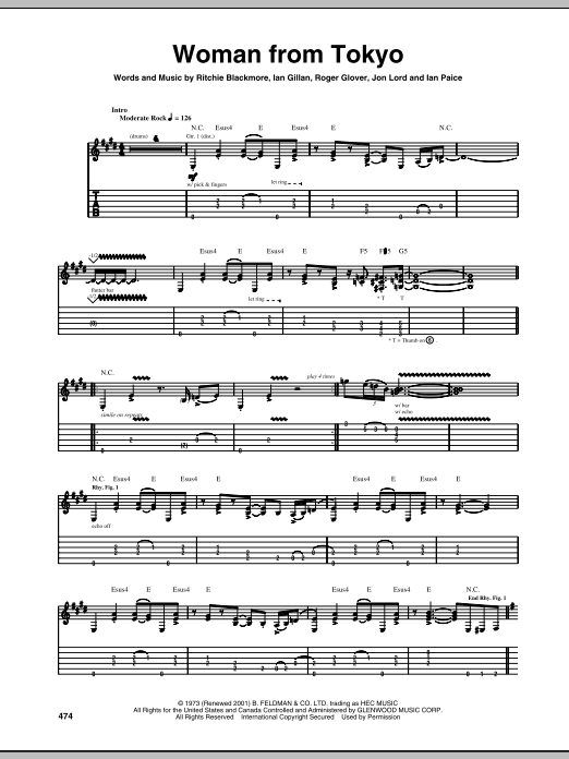 Deep Purple Woman From Tokyo sheet music notes and chords. Download Printable PDF.
